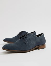 Dune Lace Up Suede Shoes In Navy Suede Blue