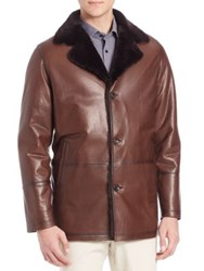 Saks Fifth Avenue Shearling Fur And Lambskin Leather Jacket Brown