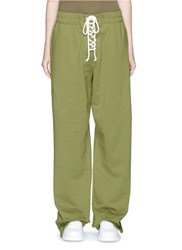 Fenty Puma By Rihanna Lace Up Fleece Jersey Sweatpants Green