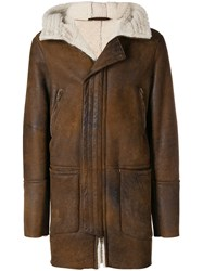 Salvatore Santoro Longline Shearling Jacket Brown