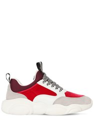 Moschino 30Mm Velvet And Suede Sneakers Fuchsia