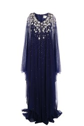 Marchesa Caftan Crystal Dress Navy