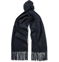 Johnstons Of Elgin Fringed Cashmere Scarf Midnight Blue