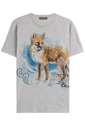 Etro Cotton Fox Print T Shirt Grey