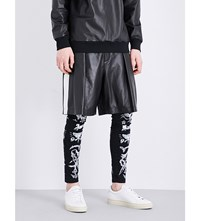 Givenchy Star Applique Leather Bermuda Shorts Black