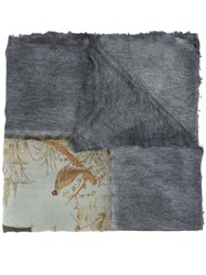 Avant Toi Graphic Print Dyed Scarf Grey