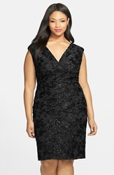 Plus Size Women's Marina Embroidered Rosette Sequin Lace Double V Neck Sheath Dress Black