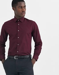 French Connection Slim Fit Poplin Shirt Red