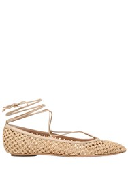Casadei 10Mm Woven Lace Up Ballerina Flats