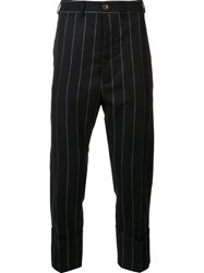Vivienne Westwood Man Pinstripe Cropped Trousers Blue