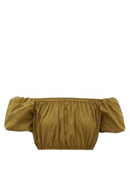 Staud Ant Off The Shoulder Cropped Top Khaki
