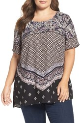 Daniel Rainn Plus Size Women's Print Crepe Tee Black