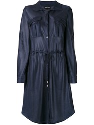 Giorgio Armani Drawstring Shirt Dress Women Polyamide 44 Blue