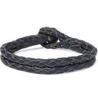 Rrl Braided Leather Bracelet Blue