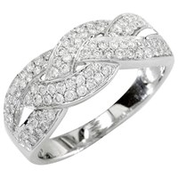 Ewa 18Ct White Gold Diamond Cross Pattern Ring 0.57Ct