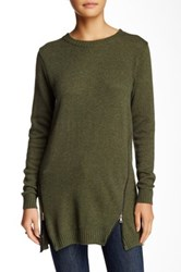 Zoa Side Zip Crew Neck Sweater Green