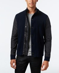 Inc International Concepts Men's Mixed Media Sweater Jacket Only At Macy's Basic Navy