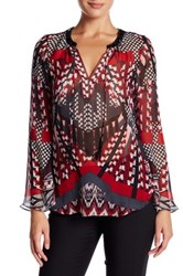 Hale Bob Long Sleeve Silk Tunic Blouse Red