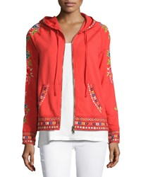 Johnny Was Rina Embroidered Hoodie Plus Size Hot Orange