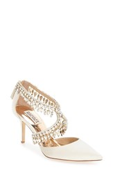 Badgley Mischka Women's 'Glamour' Crystal Embellished Pointy Toe Pump Ivory Satin