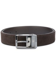 Canali Embossed Buckle Belt Men Leather 95 Brown