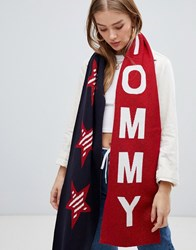 Tommy Jeans Glitter Knit Scarf With Logo And Stars Navy