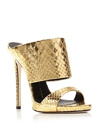 Giuseppe Zanotti Cole Metallic Snake Embossed Slide High Heel Sandals Oro