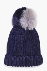 Boohoo Two Tone Faux Fur Pom Beanie Hat Navy