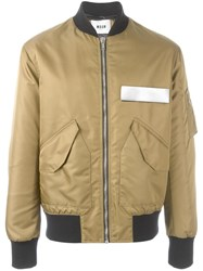 Msgm Contrast Slot Bomber Jacket Green