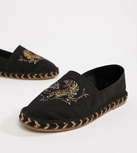 Asos Design Wide Fit Black Espadrilles In Black With Tiger Embroidery Stone