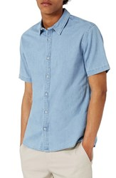 Topman Men's Muscle Fit Denim Shirt Blue