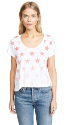 Chrldr Faded Stars Box Slub Tee White