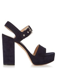 Gianvito Rossi Gina Suede Sandals Navy