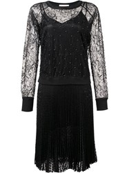Loyd Ford Lace Panel Pleated Dress Black