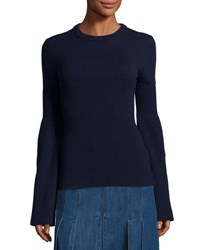 Michael Kors Cashmere Bell Sleeve Ribbed Sweater Navy