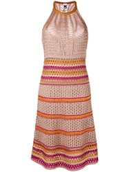 M Missoni Loose Knit Dress Women Polyester Viscose Metallic Fibre 40 Pink Purple
