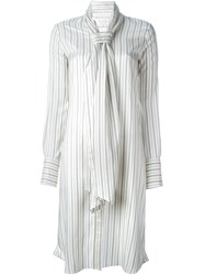 Maison Martin Margiela Maison Margiela Striped Tie Collar Dress White
