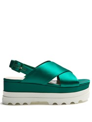 Miu Miu Crossover Satin Flatform Sandals Green