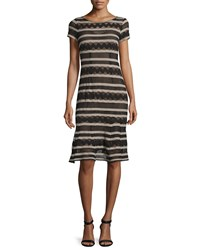 Nanette Lepore Short Sleeve Chevron Striped Dress Black Camel