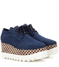 Stella Mccartney Elyse Denim Platform Derby Shoes Blue