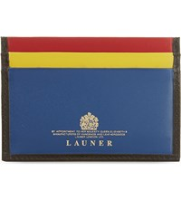 Launer Colour Block Leather Card Holder Black Multi