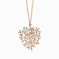 Tiffany And Co. Paloma Picasso Olive Leaf Pendant In 18K Rose Gold Large.