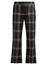 Alexander Mcqueen Checked Silk And Wool Blend Flared Trousers 1061 Black Multi