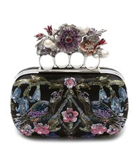 Alexander Mcqueen Embroidered Floral Knuckle Box Clutch Female Multi