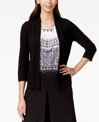 Alfred Dunner Embellished Neck Layered Look Sweater Black
