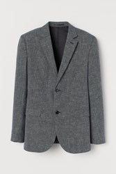 Handm H M Slim Fit Linen Blend Blazer Black