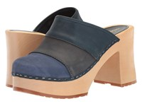 Swedish Hasbeens Color Combo Slip In Blue Nubuck Women's Clog Shoes
