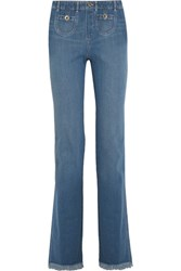 Chloe Frayed High Rise Wide Leg Jeans Mid Denim