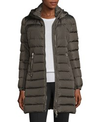 Moncler Orophin Long Puffer Coat W Leather Trim Olive