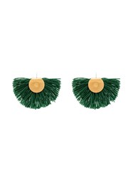 Katerina Makriyianni Wool Fan Earrings Green
